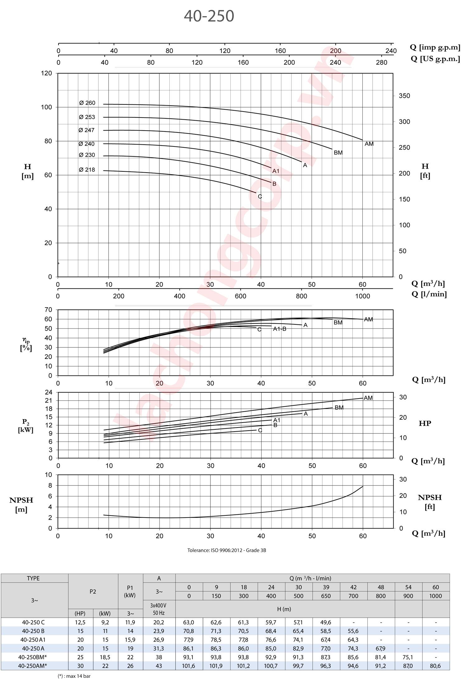 Biểu đồ lưu lượng, cột áp Pentax CM40-250C